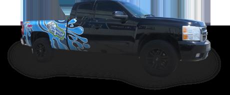 blue truck graphic vinyl wrap