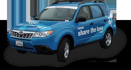 blue vinyl car wrap on a Subaru