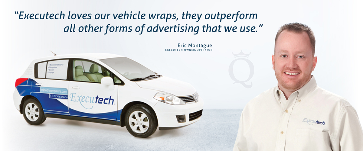 Executech advertising vehicle wrap