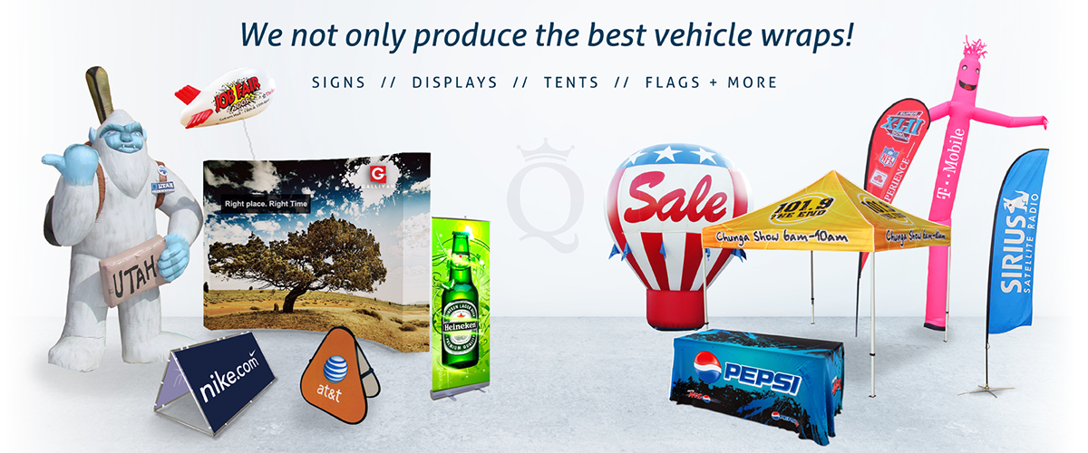signs, displays, tents, and flags by Queen of Wraps