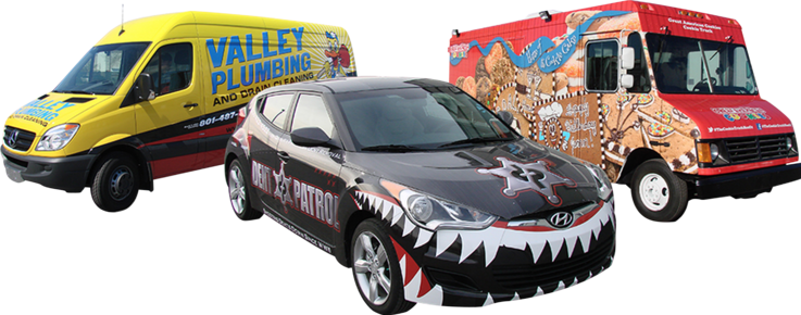 two vans and shark car wrap